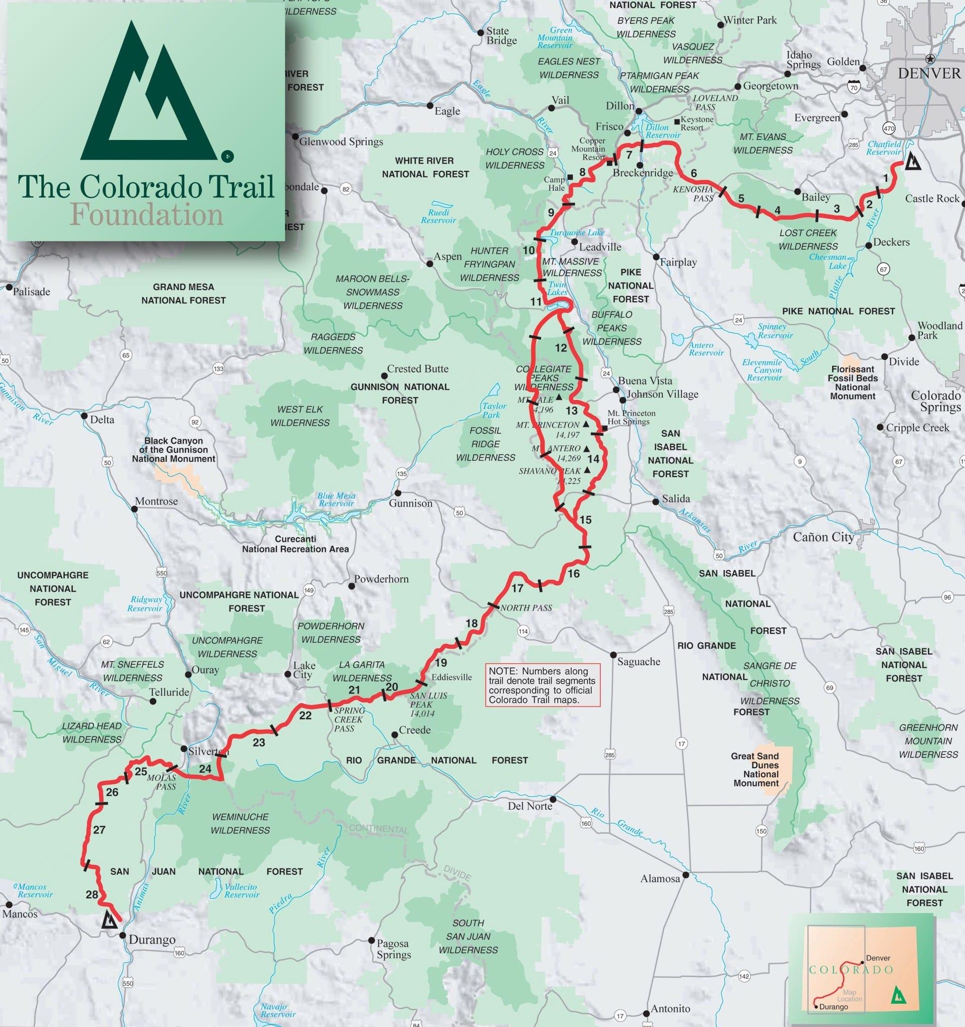 Colorado Elevation Map: Long Distance Hiker