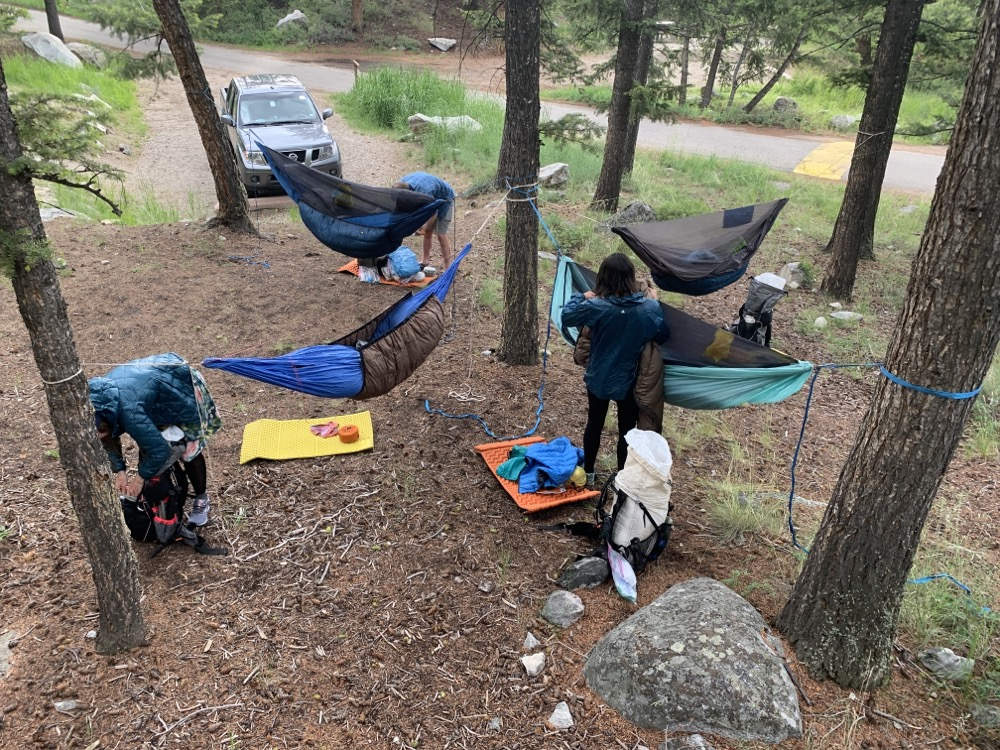 'Rental' car camping near Pinedale WY en route to Steamboat Springs